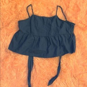 Blue cropped cami top with a self tie back